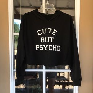 """Cute But Psycho"" Crop Hoodie"